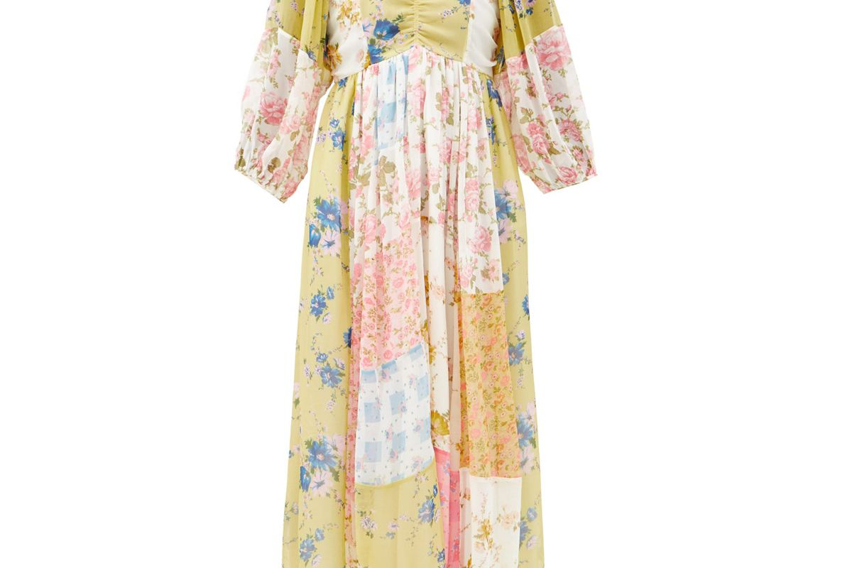 loveshackfancy roslyn patchwork floral print silk dress