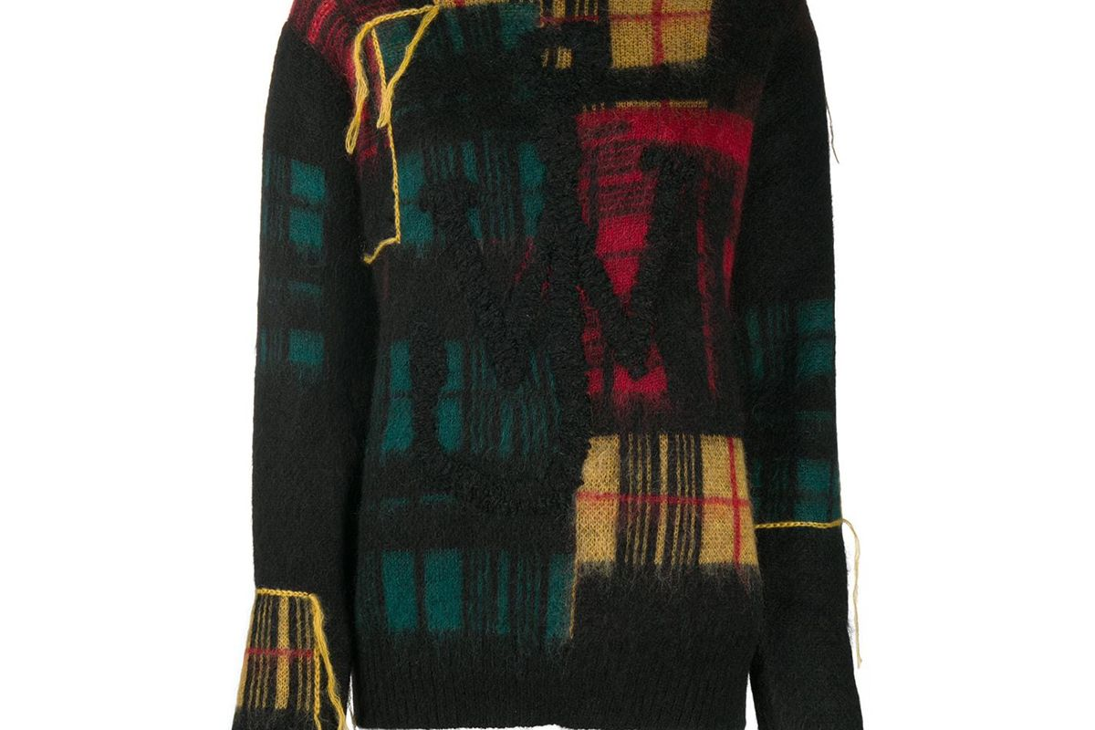 jw anderson fringe checked knitted jumper