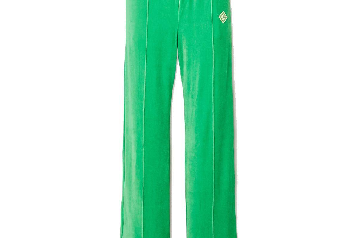 casablanca appliqued velour track pants