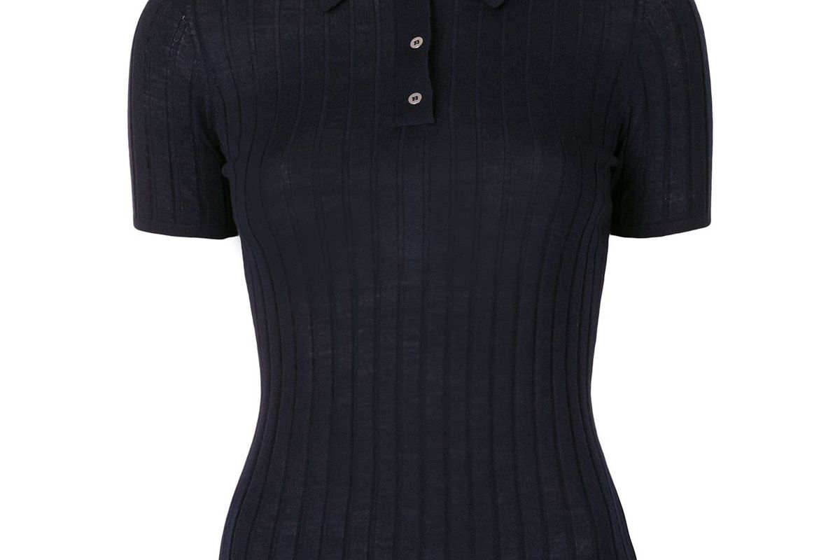 dion lee ribbed merino wool polo top