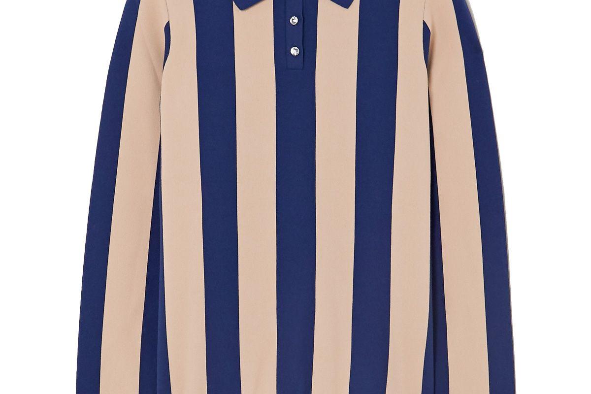 alexachung striped stretch jersey polo shirt