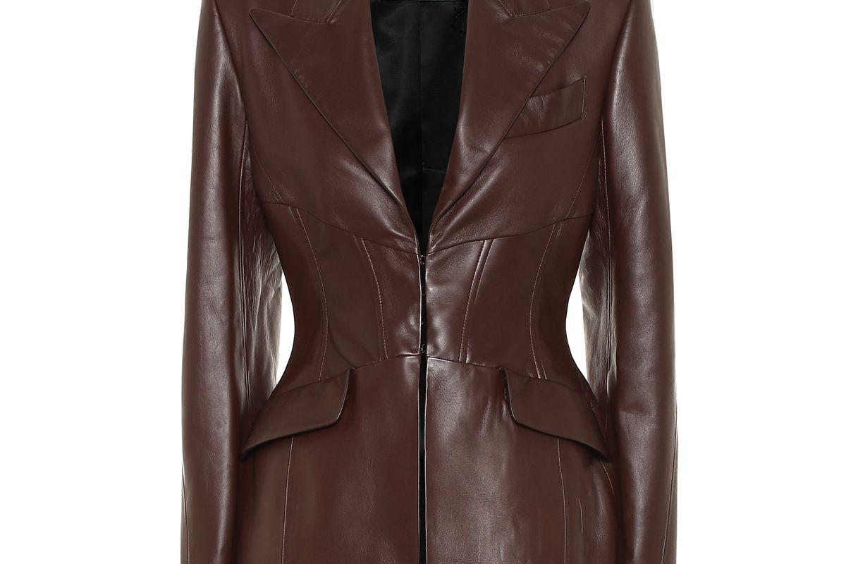 mugler leather blazer