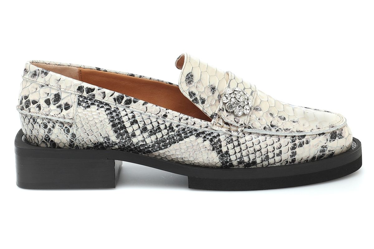 ganni snake effect leather loafers
