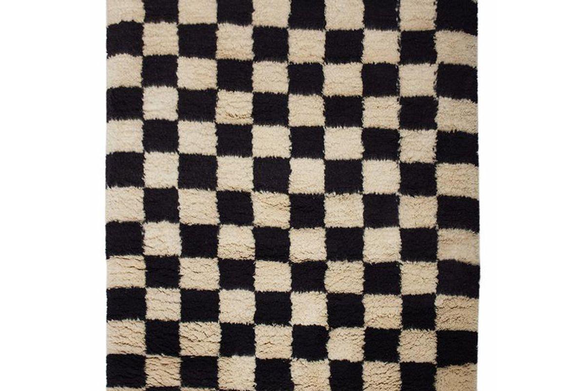 aelfie checkmate shag rug black