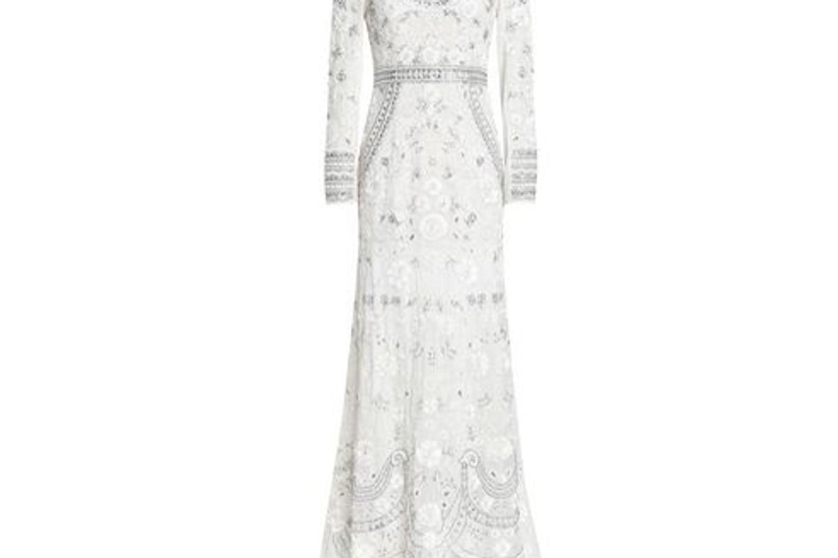 needle thread embellished georgette gown