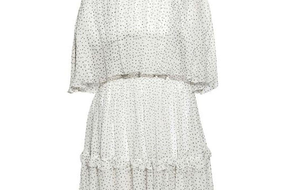 prabal gurung off the shoulder ruffle trimmed polka dot silk georgette dress