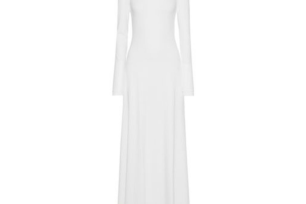 michael lo sordo backless ribbed stretch jersey maxi dress