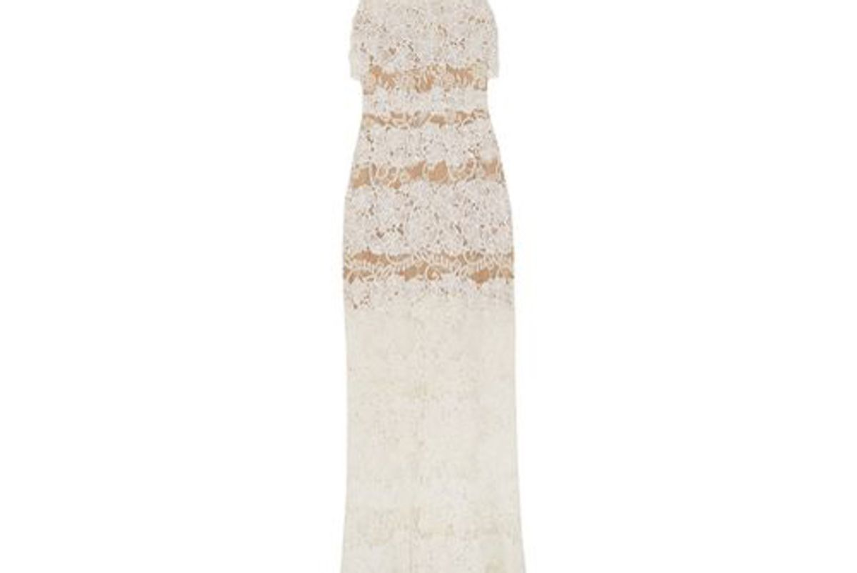 elie saab layered cotton blend lace gown