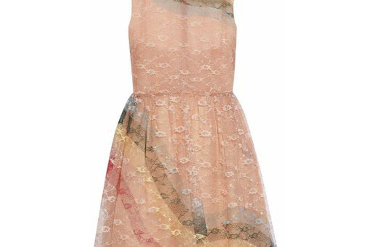 redvalentino striped lace mini dress