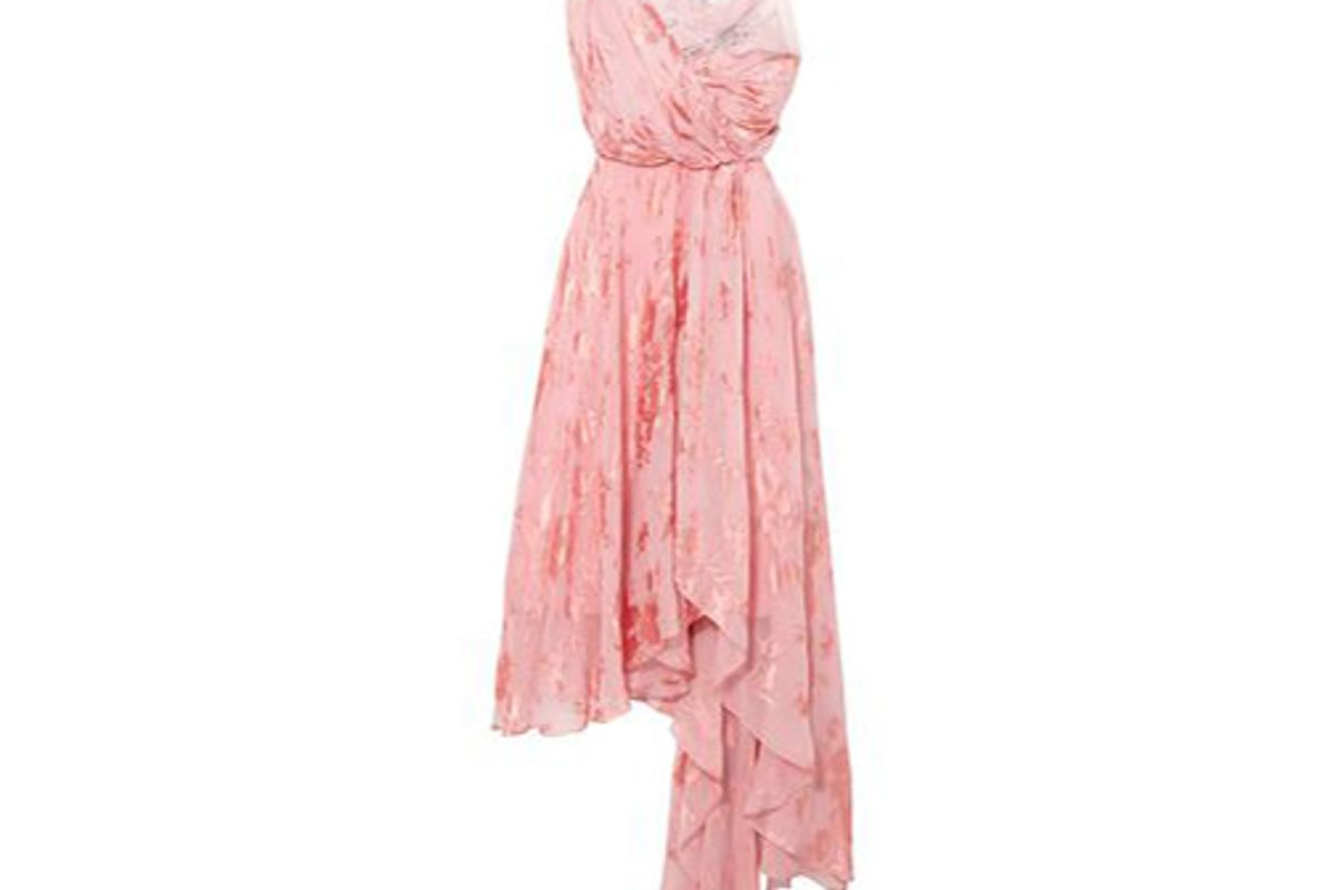 preen by thornton bregrazzi elenora asymmetric devore silk blend chiffon and crepe de chine dress