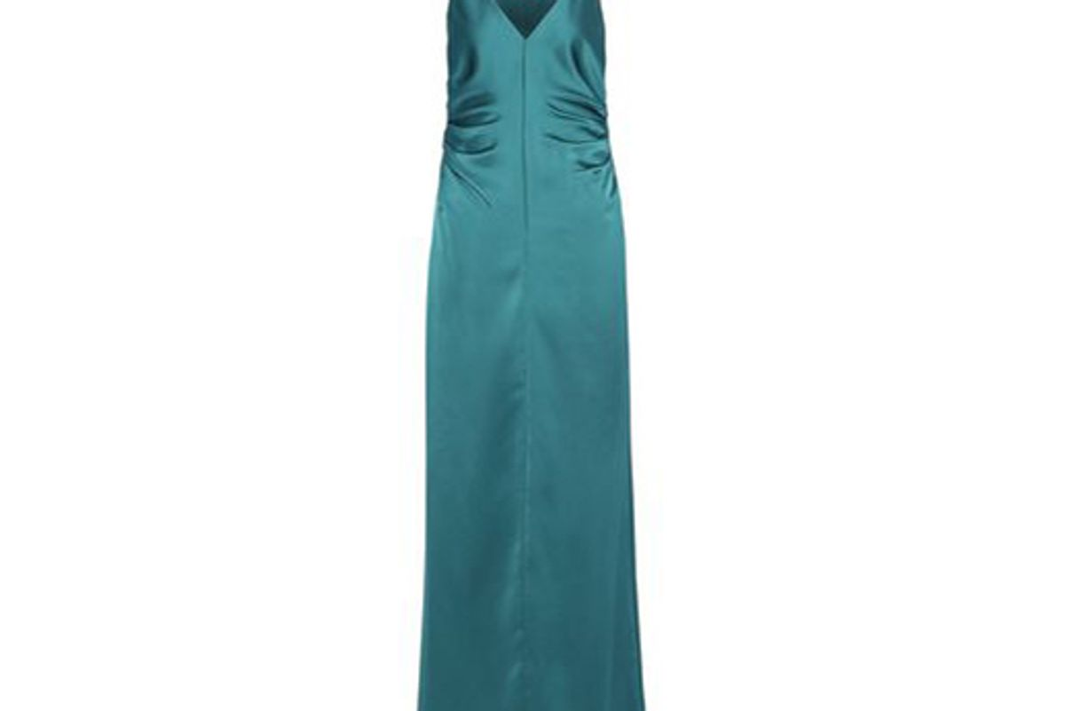 halston heritage ruched satin gown