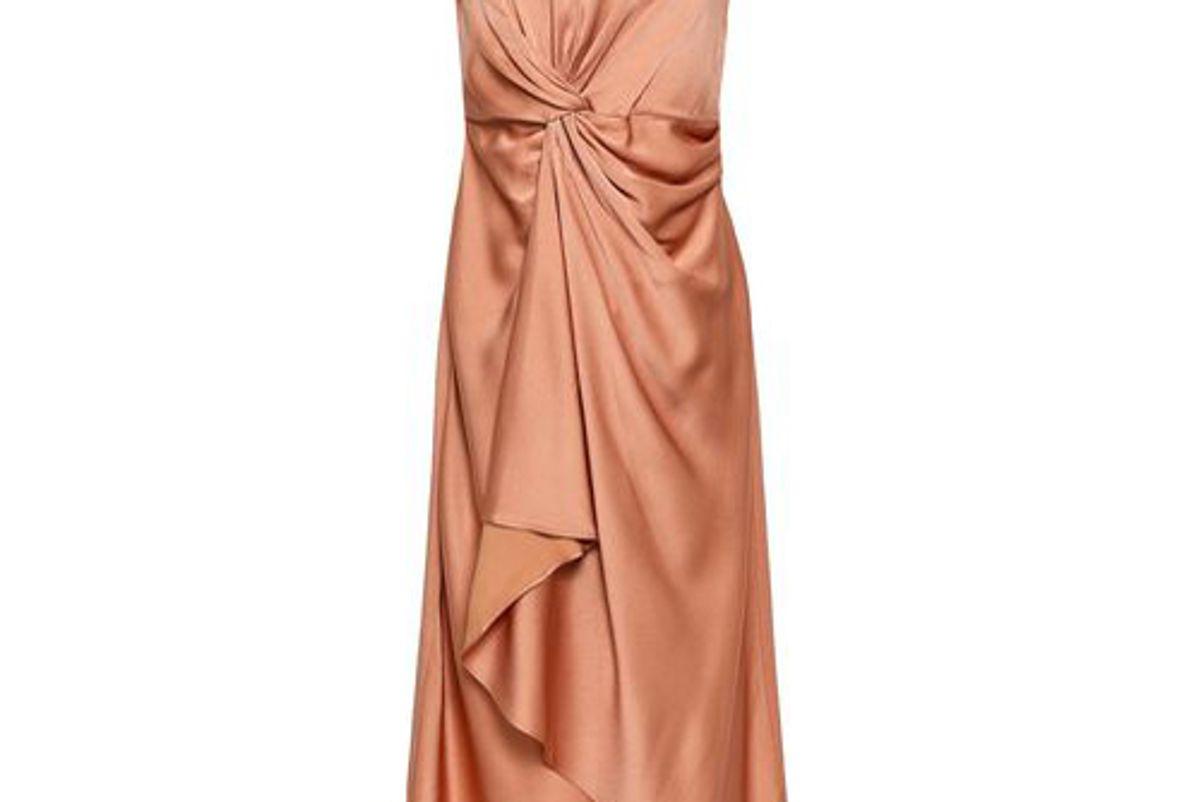 alc strapless draped satin crepe dress