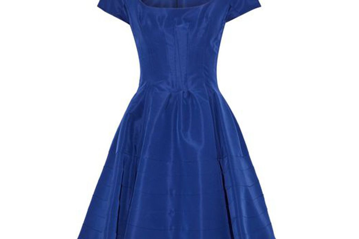 zac posen flared silk faille mini dress