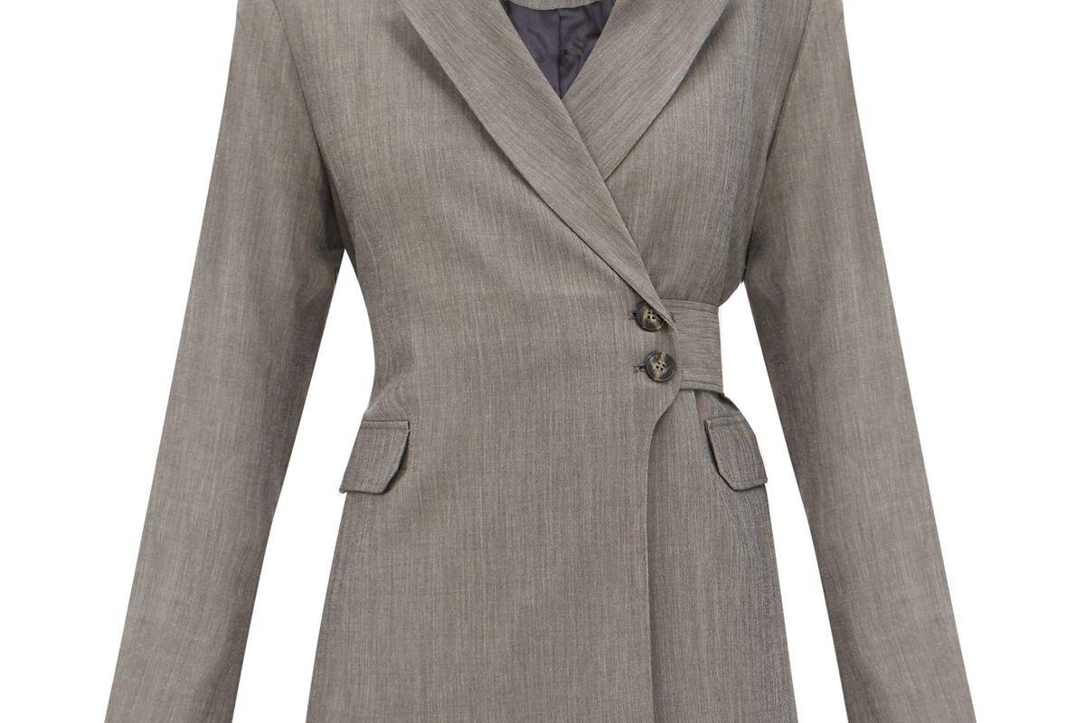 ganni belted heathered sharkskin suit jacket