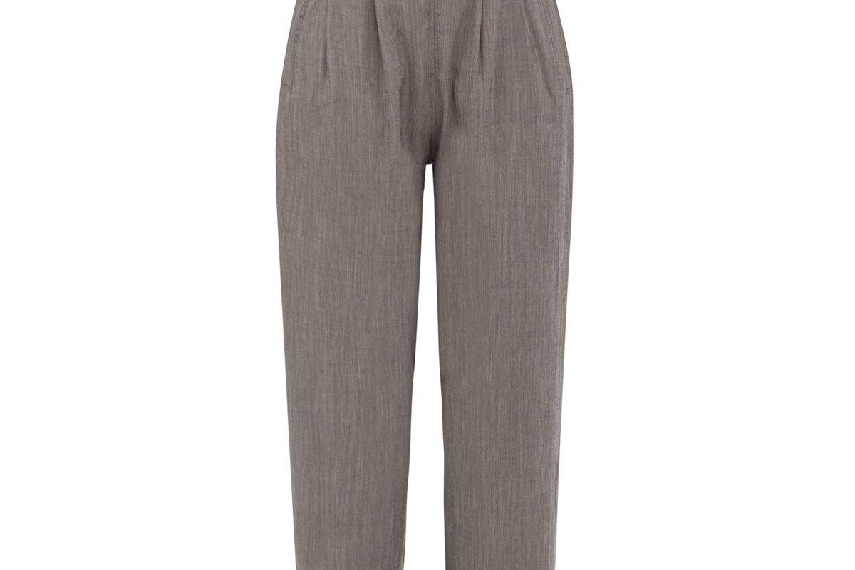ganni paperbag waist crepe wide leg trousers