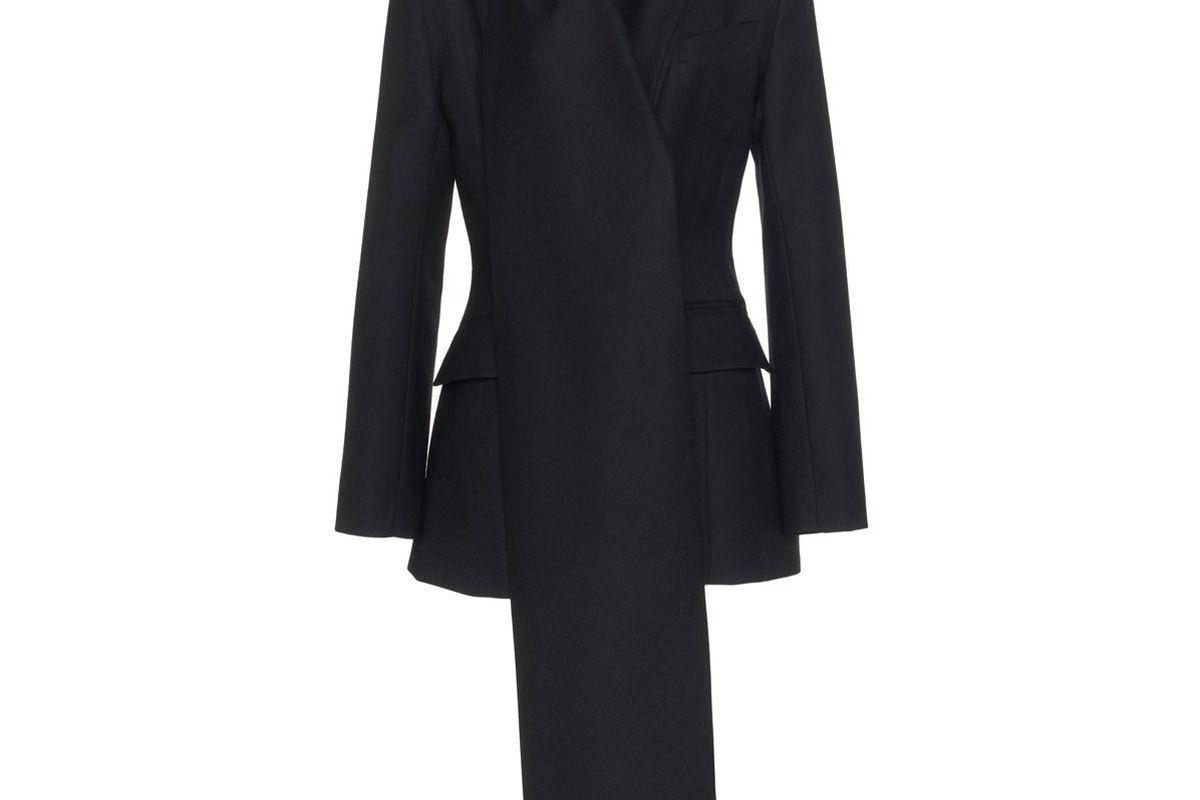 material drape detailed wool blazer