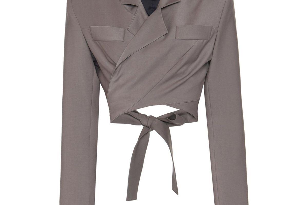 michael lo sordo cropped wool wrap blazer