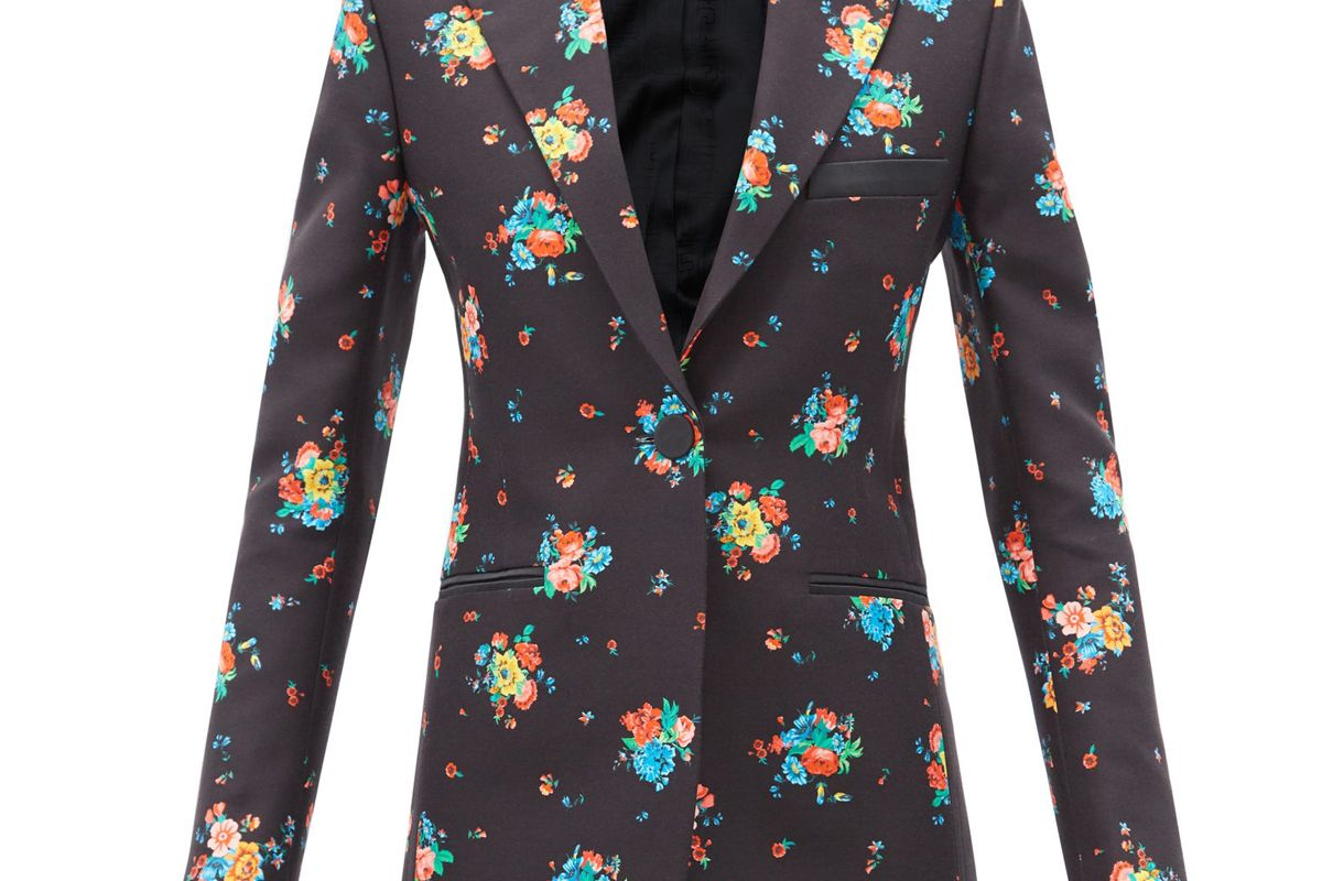 paco rabanne single breasted floral print cotton blend jacket