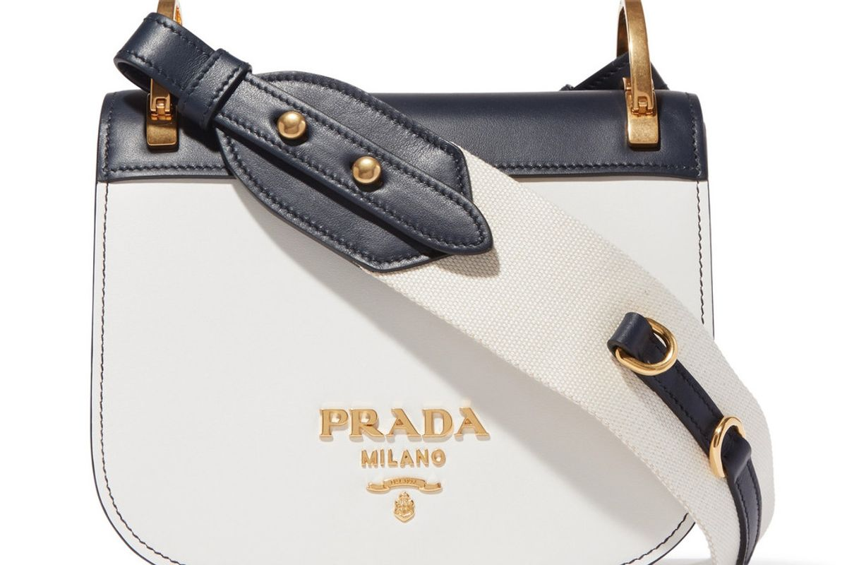 prada pionniere two tone leather shoulder bag