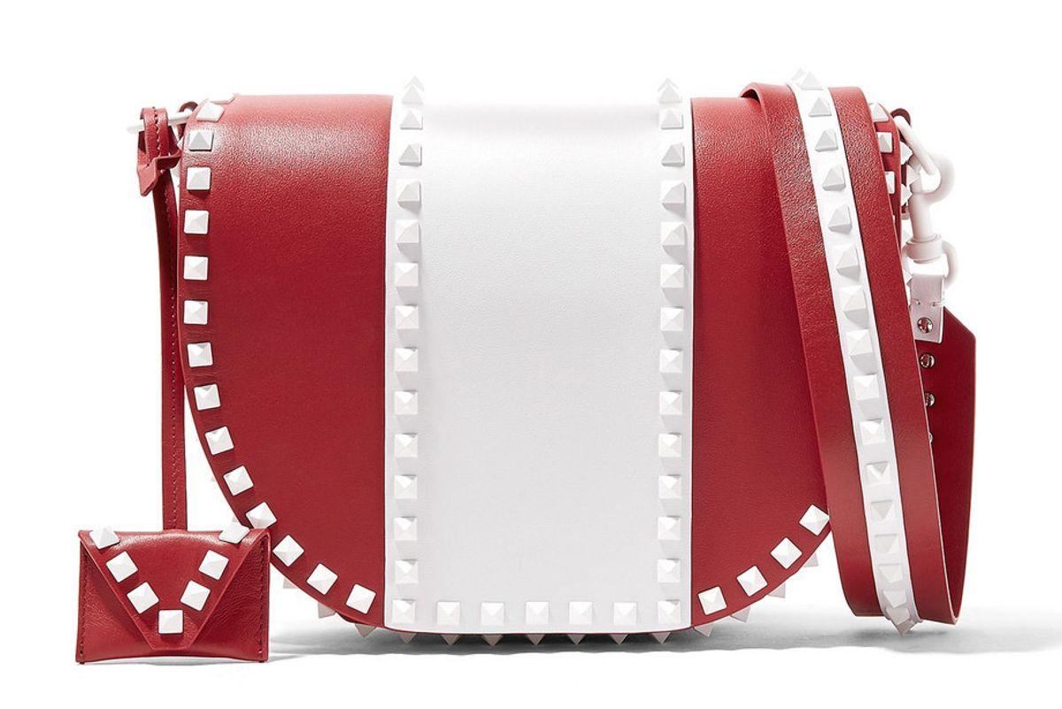 valentino garavani the rockstud two tone leather shoulder bag