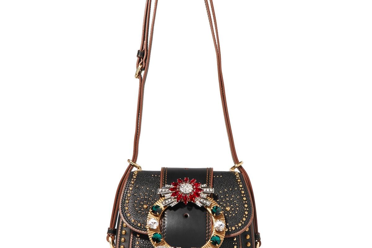 miu miu dahlia embellished textured leather shoulder bag