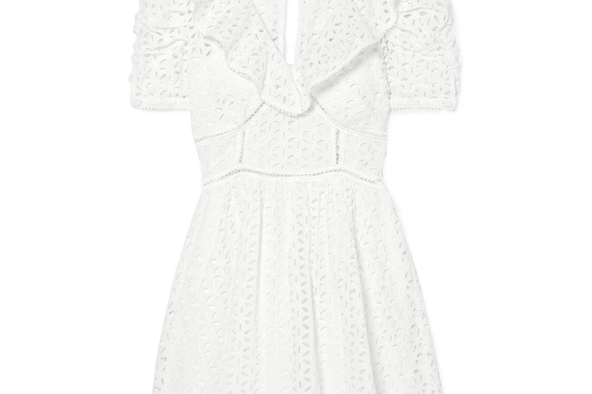 self-portrait broderie anglaise cotton mini dress