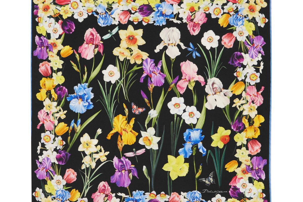 dolce and gabbana floral print silk twill scarf