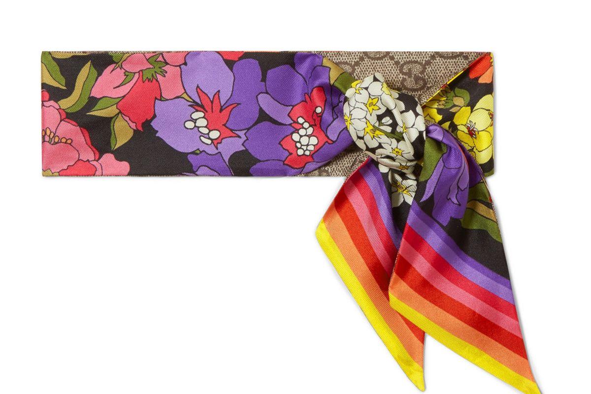 gucci printed silk twill scarf