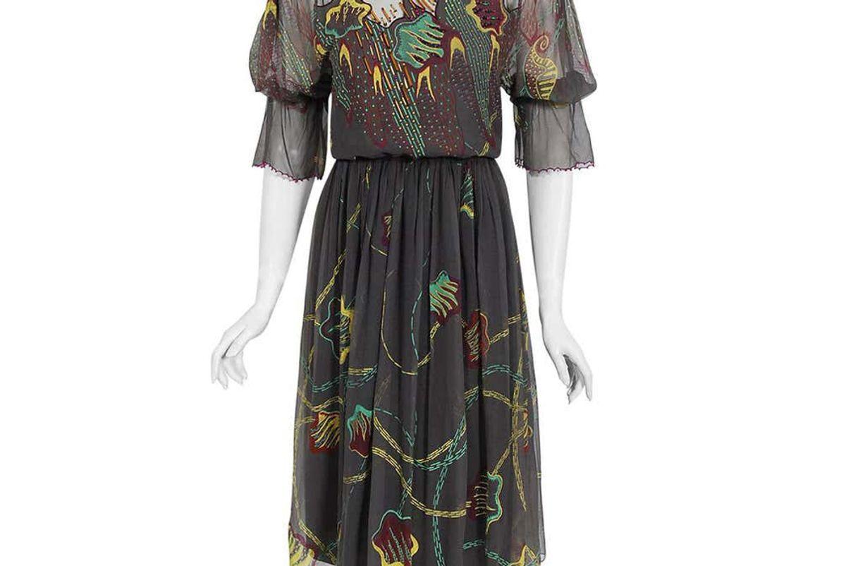 zandra rhodes vintage 1977 zandra rhodes hand painted silk puff sleeve illusion dress