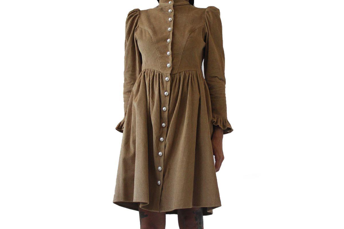 batsheva grace dress in camel corduroy