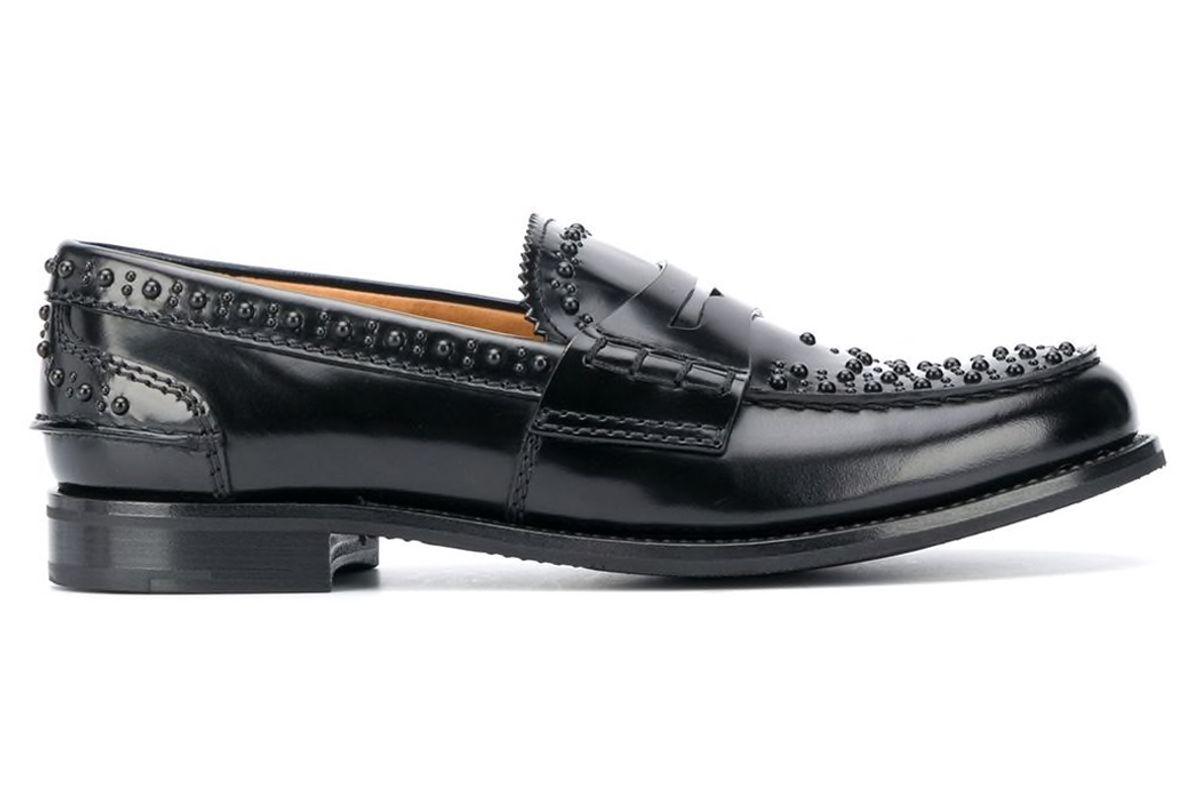 churchs stud embellished slip on loafers