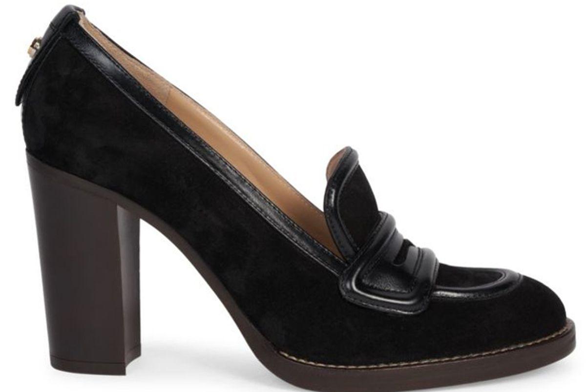 chloe emma suede loafer pumps