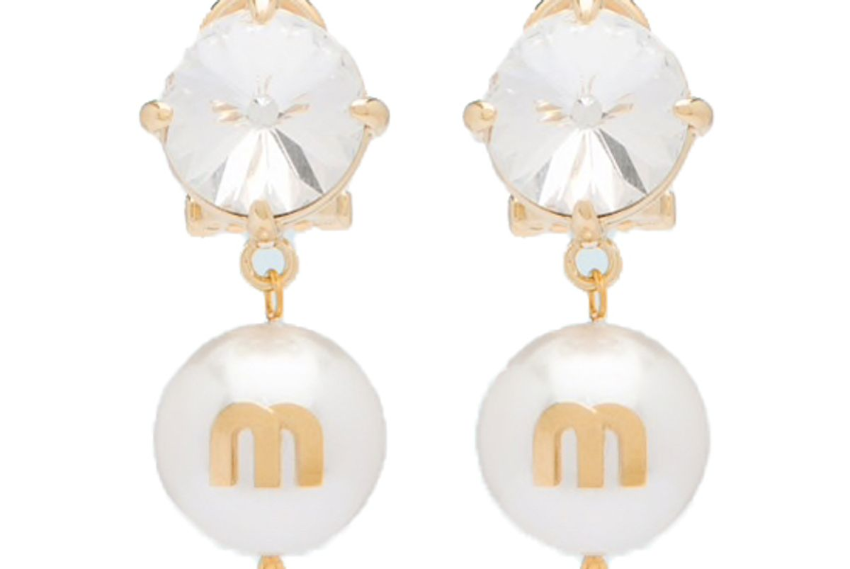 miu miu pendant earrings with crystals and pearls