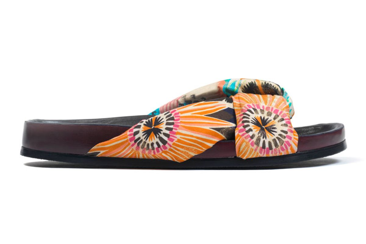 Floral-Print Satin and Leather Slides