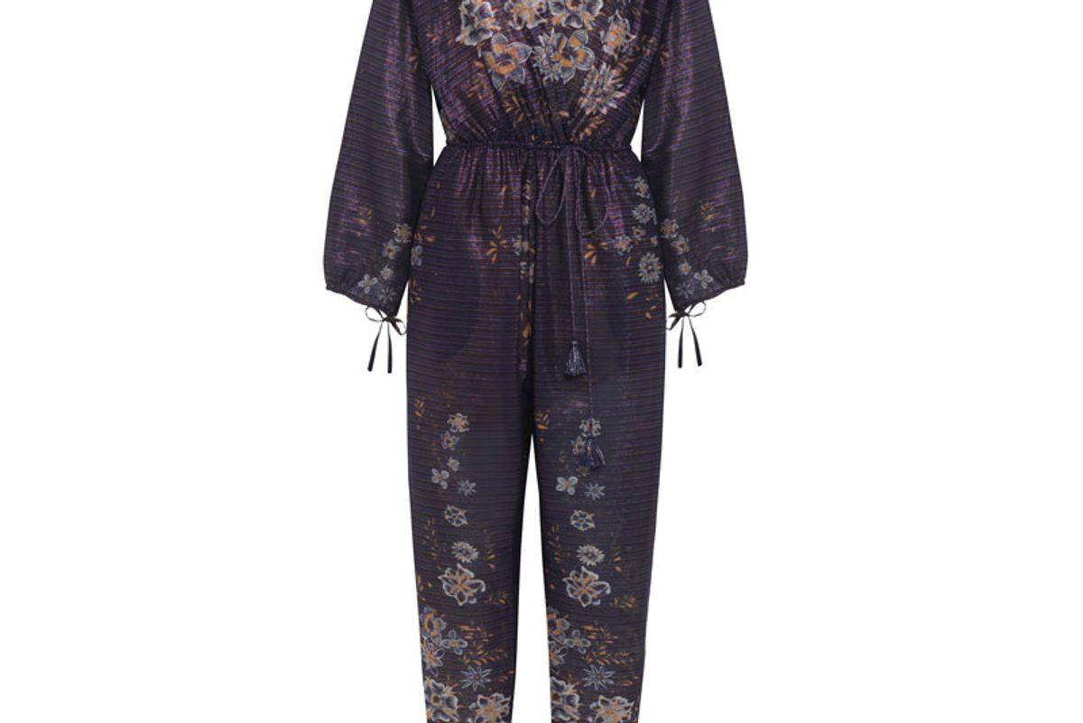 Metallic Striped Floral-Print Cotton-Blend Jumpsuit