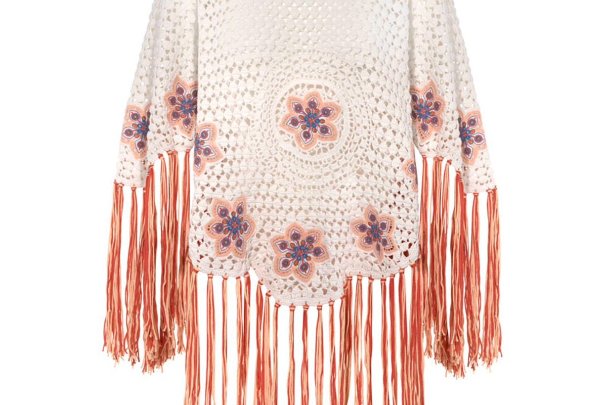Fringed Embroidered Crocheted Cotton Poncho
