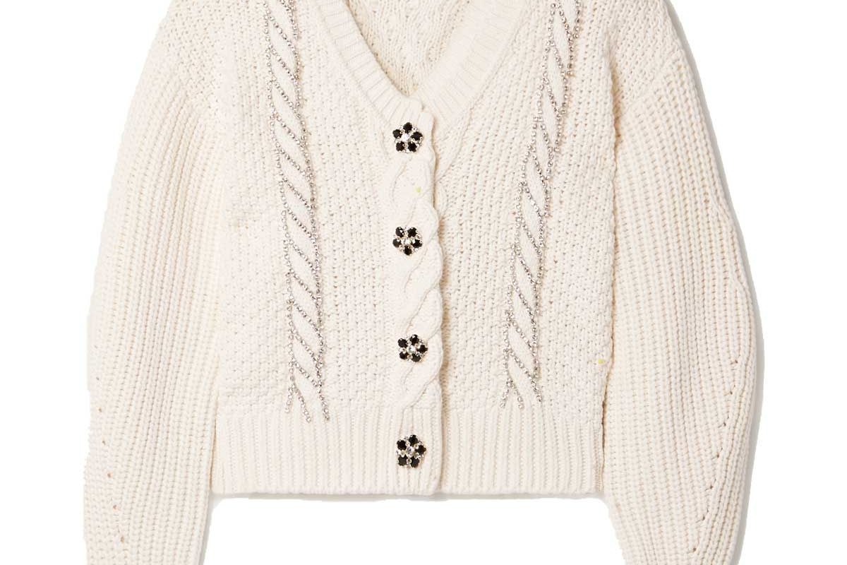 self portrait crystal embellished cable knit cotton and wool blend cardigan