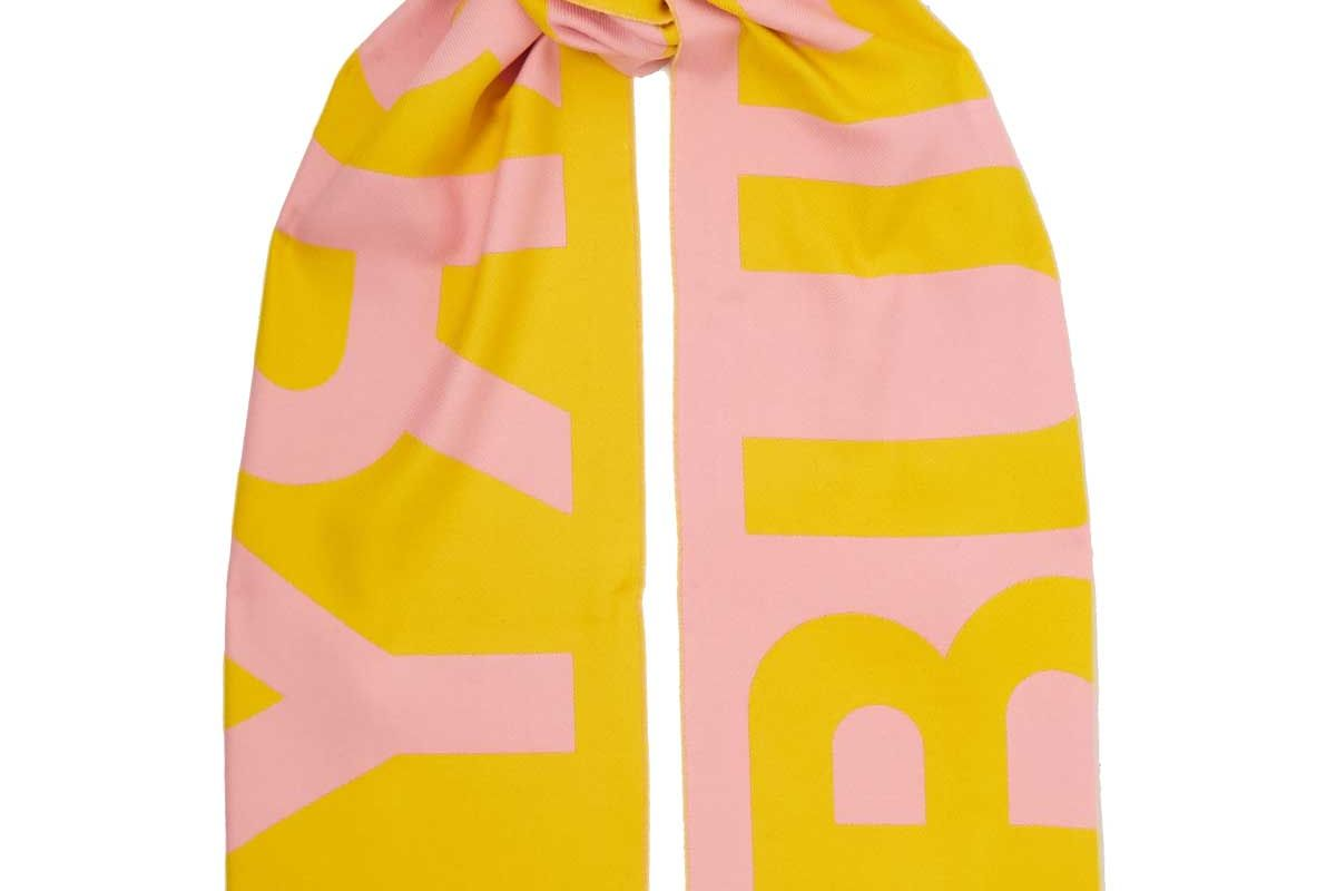 burberry fringed two tone intarsia wool scarf