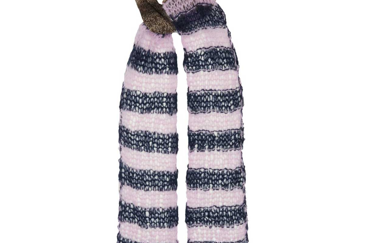 raf simons contrast stripe panelled extra long scarf