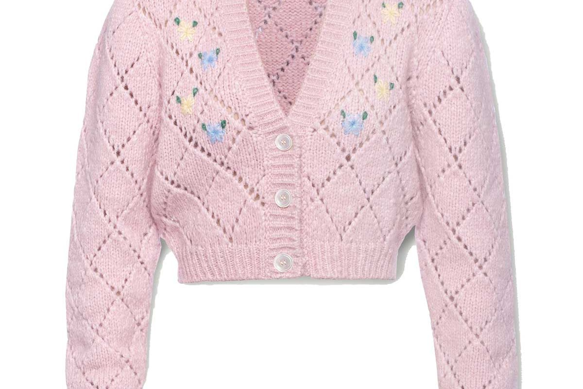 alessandra rich cropped embroidered pointelle knit alpaca blend cardigan
