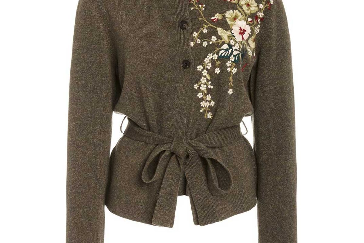 brock collection embroidered wool cashmere cardigan