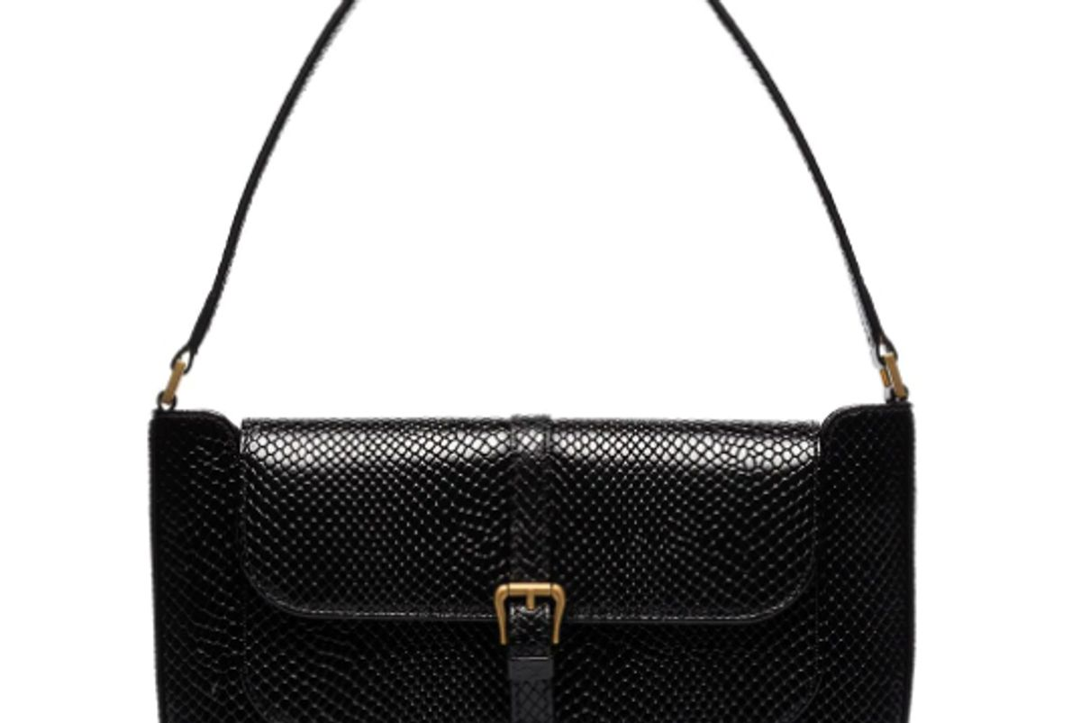by far miranda snake effect leather shoulder bag