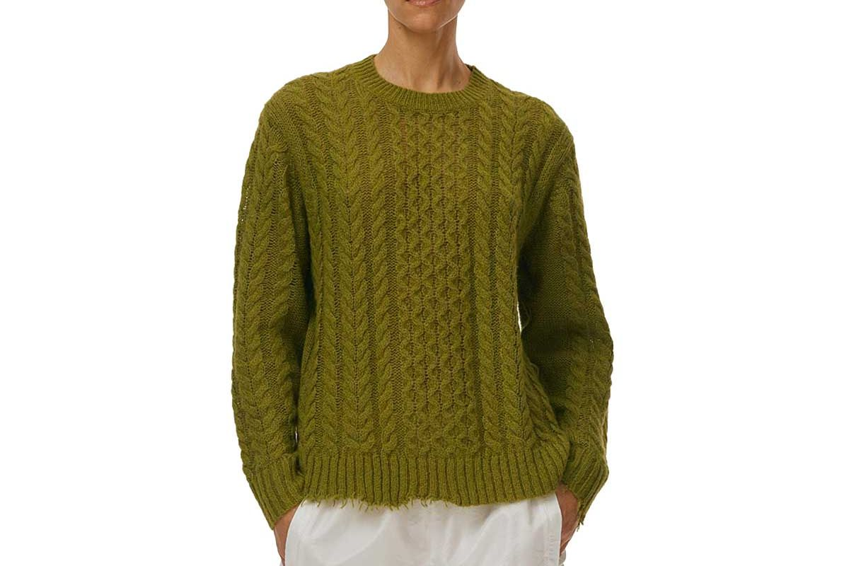tibi distressed hem easy pullover