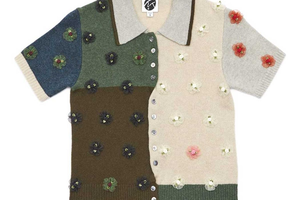 yanyan knits checked short sleeve cardigan in forrest lambswool