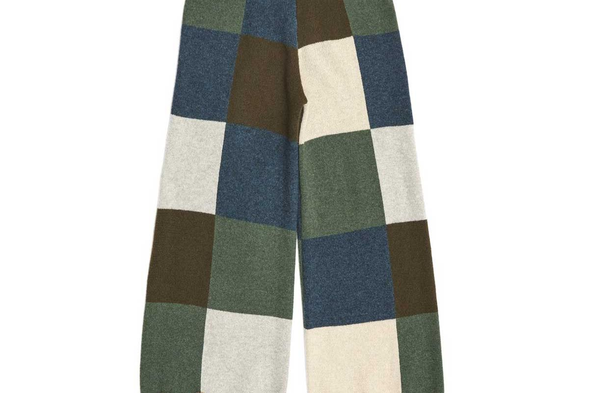 yanyan knits checked wide leg pant in forest lambswool