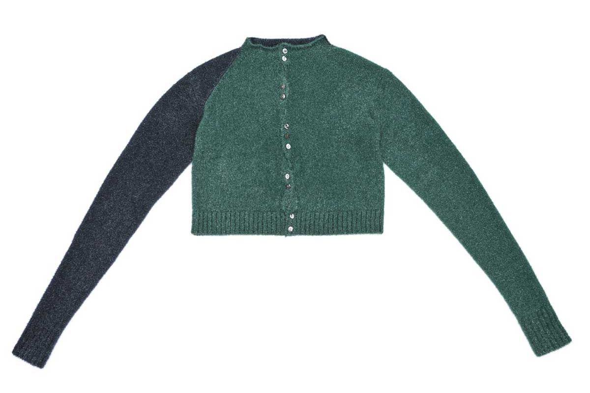yanyan knits tinsel extra long sleeve cardigan in sparkly peacock