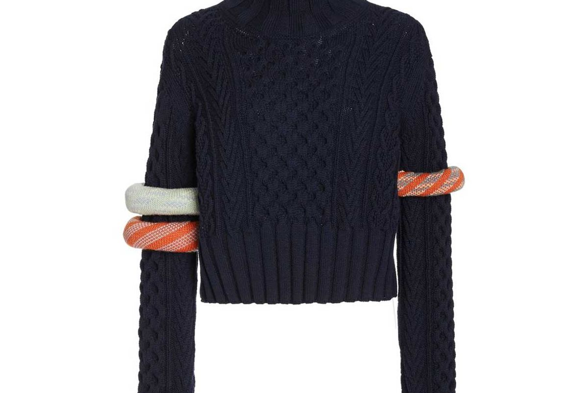 rosie assoulin bangle detailed wool cotton sweater