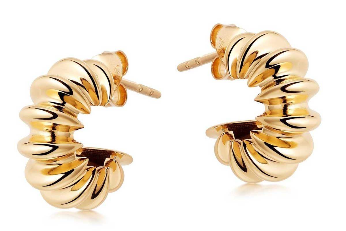 missoma gold medium ridge claw hoops