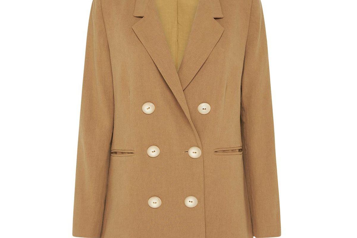 st agni annya cotton linen double breasted blazer