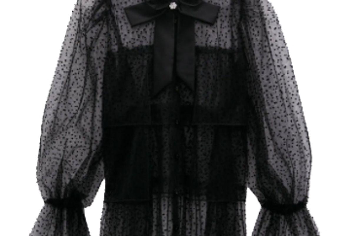 zara semi sheer swiss dot blouse